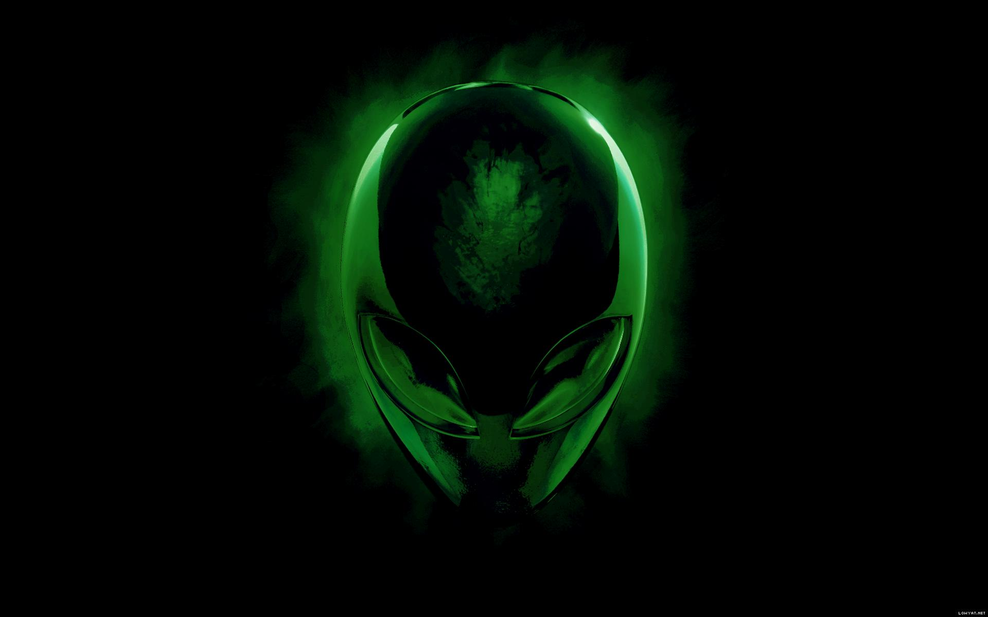 alienware desktop background alien head green 1920x1200