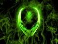 Alienware Desktop Background Alien Head Green Flames 1600x1000