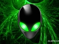 Alienware Desktop Background Alien Head Green Light Streams 1680x1050