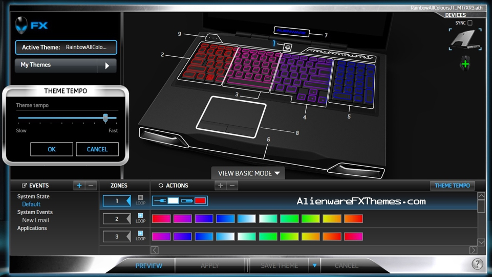 Rainbow All Colours JT M17x R3 R4 Alienware FX Theme