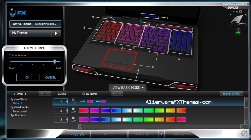 Rainbow All Colours M17x R3 R4 Alienware FX Theme