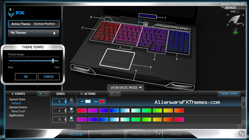 Rainbow Modified M17x R3 R4 Alienware FX Theme